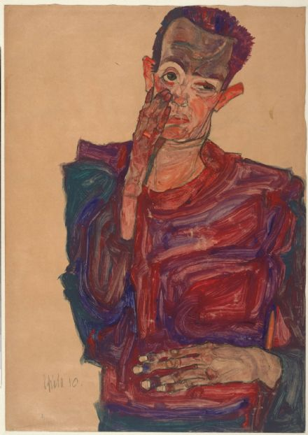 Schiele, Egon: Self-Portrait with Eyelid Pulled Down, 1910. Fine Art Print.  (003715)